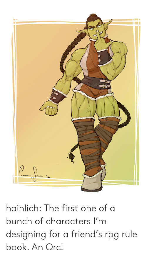 Rule: hainlich:  The first one of a bunch of characters I'm designing for a friend's rpg rule book. An Orc!