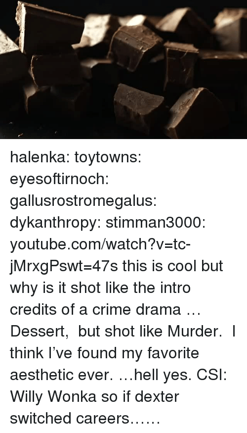 Crime, Tumblr, and Willy Wonka: halenka:  toytowns:  eyesoftirnoch:  gallusrostromegalus:  dykanthropy:  stimman3000: youtube.com/watch?v=tc-jMrxgPswt=47s this is cool but why is it shot like the intro credits of a crime drama  …Dessert,  but shot like Murder.  I think I've found my favorite aesthetic ever.  …hell yes.  CSI: Willy Wonka   so if dexter switched careers……