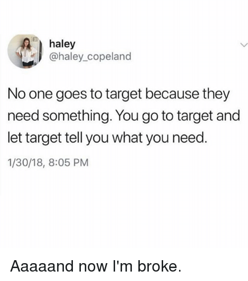 Target, Girl Memes, and One: haley  @haley_copeland  No one goes to target because they  need something. You go to target and  let target tell you what you need  1/30/18, 8:05 PM Aaaaand now I'm broke.