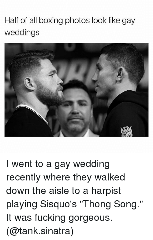 """Boxing, Fucking, and Memes: Half of all boxing photos look like gay  weddings I went to a gay wedding recently where they walked down the aisle to a harpist playing Sisquo's """"Thong Song."""" It was fucking gorgeous. (@tank.sinatra)"""