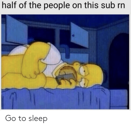 Of The People: half of the people on this sub rn Go to sleep