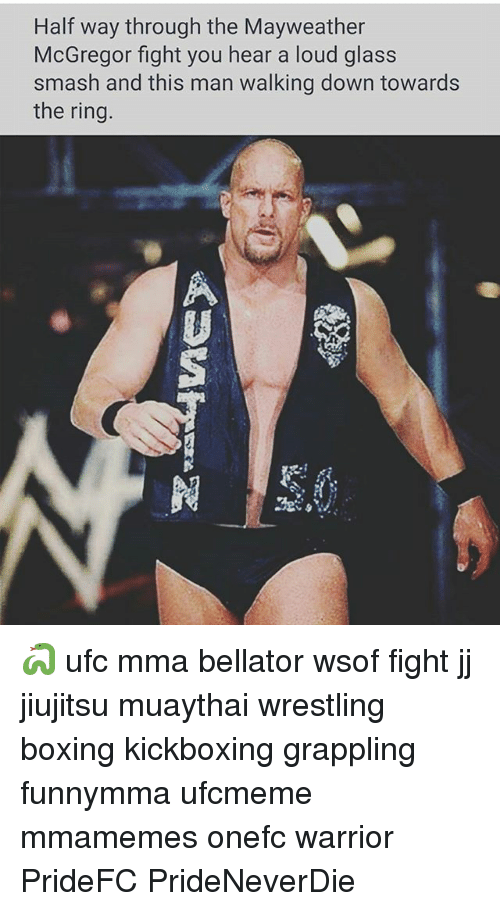 Boxing, Mayweather, and Memes: Half way through the Mayweather  McGregor fight you hear a loud glass  smash and this man walking down towards  the ring 🐍 ufc mma bellator wsof fight jj jiujitsu muaythai wrestling boxing kickboxing grappling funnymma ufcmeme mmamemes onefc warrior PrideFC PrideNeverDie