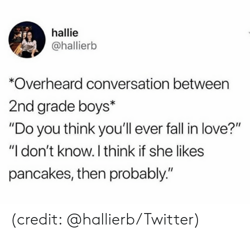 """Dank, Love, and Twitter: hallie  @hallierb  Overheard conversation between  2nd grade boys*  """"Do you think you'll ever fal in love?""""  """"I don't know. I think if she likes  pancakes, then probably."""" (credit: @hallierb/Twitter)"""