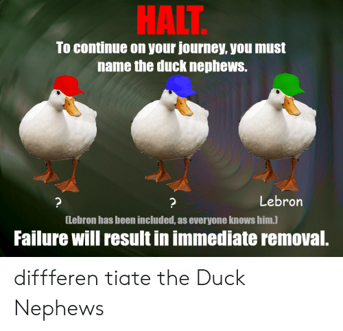 Immediate: HALT  To continue on your journey, you must  name the duck nephews.  Lebron  ?  ?  [Lebron has been included, as everyone knows him.)  Failure will result in immediate removal. diffferen tiate the Duck Nephews