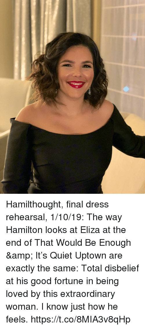 Memes, Dress, and Good: Hamilthought, final dress rehearsal, 1/10/19: The way Hamilton looks at Eliza at the end of That Would Be Enough & It's Quiet Uptown are exactly the same: Total disbelief at his good fortune in being loved by this extraordinary woman. I know just how he feels. https://t.co/8MIA3v8qHp