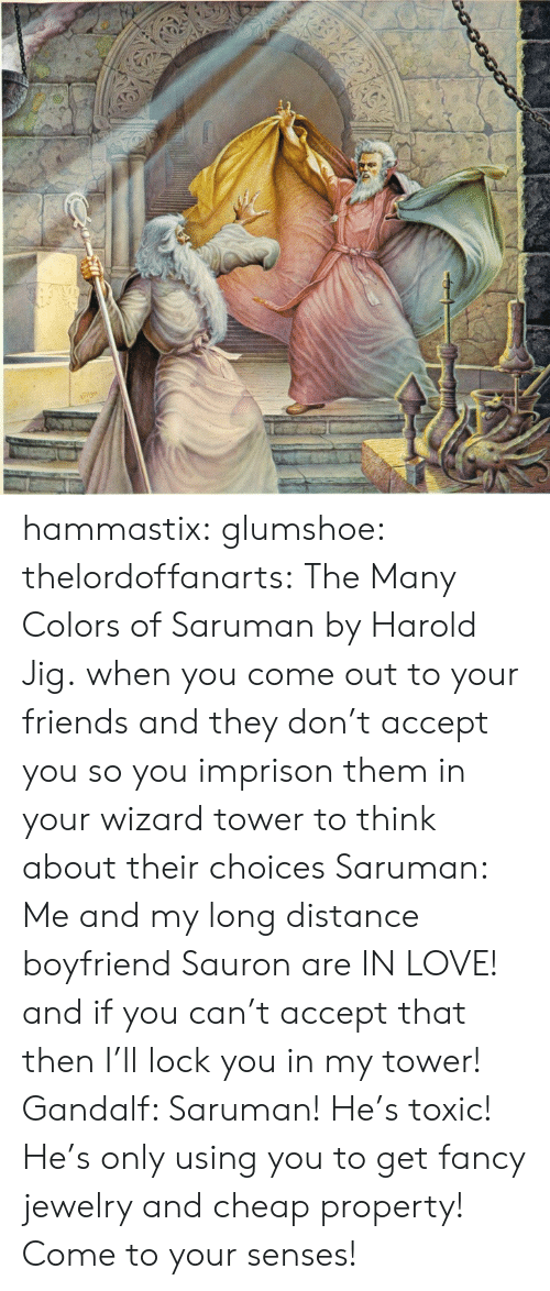 Friends, Gandalf, and Love: hammastix:  glumshoe:  thelordoffanarts:  The Many Colors of Saruman by Harold Jig.  when you come out to your friends and they don't accept you so you imprison them in your wizard tower to think about their choices   Saruman: Me and my long distance boyfriend Sauron are IN LOVE! and if you can't accept that then I'll lock you in my tower! Gandalf: Saruman! He's toxic! He's only using you to get fancy jewelry and cheap property! Come to your senses!