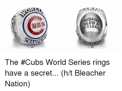 Mlb, Cubs, and World: HAMP  01ANS  1 LEAD The #Cubs World Series rings have a secret...  (h/t Bleacher Nation)