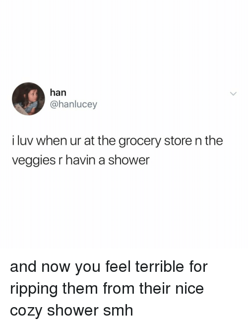 ripping: han  @hanlucey  i luv when ur at the grocery store n the  veggies r havin a shower and now you feel terrible for ripping them from their nice cozy shower smh