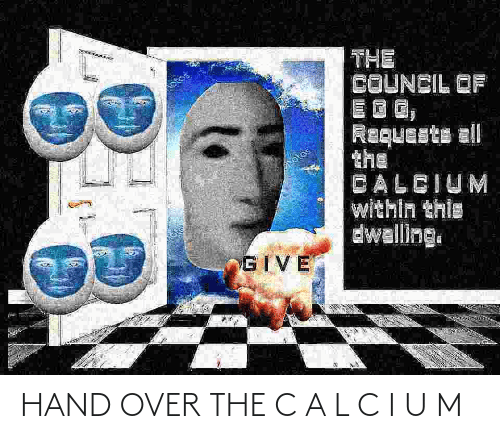 hand: HAND OVER THE C A L C I U M