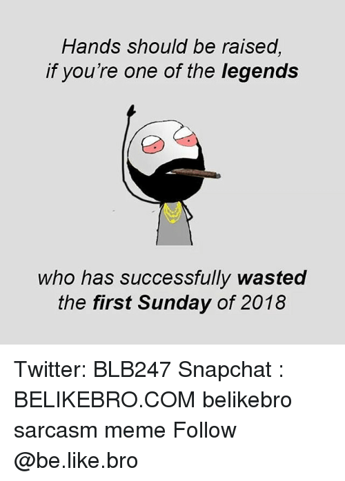 Be Like, Meme, and Memes: Hands should be raised,  if you're one of the legends  who has successfully wasted  the first Sunday of 2018 Twitter: BLB247 Snapchat : BELIKEBRO.COM belikebro sarcasm meme Follow @be.like.bro
