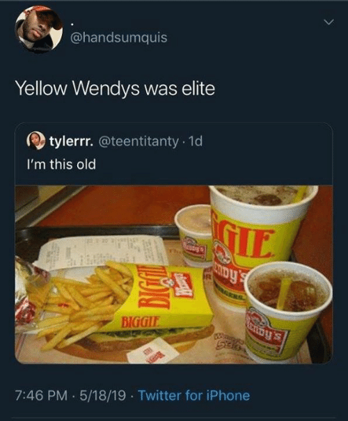 biggie: @handsumquis  Yellow Wendys was elite  tylerrr.@teentitanty 1d  I'm this old  IE  BIGGIE  7:46 PM .5/18/19 Twitter for iPhone