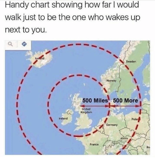 Memes, France, and Germany: Handy chart showing how far I would  walk just to be the one who wakes up  next to you.  Sweden  Norway  500 Miles 500 More  United  Kingdom  reland  Pola  Germany  France  Ro