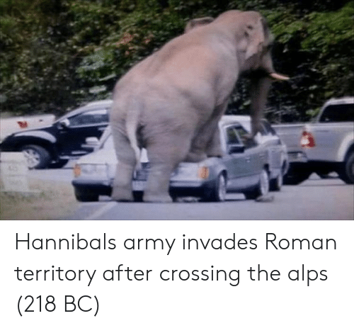 Army, Roman, and Hannibal: Hannibals army invades Roman territory after crossing the alps (218 BC)