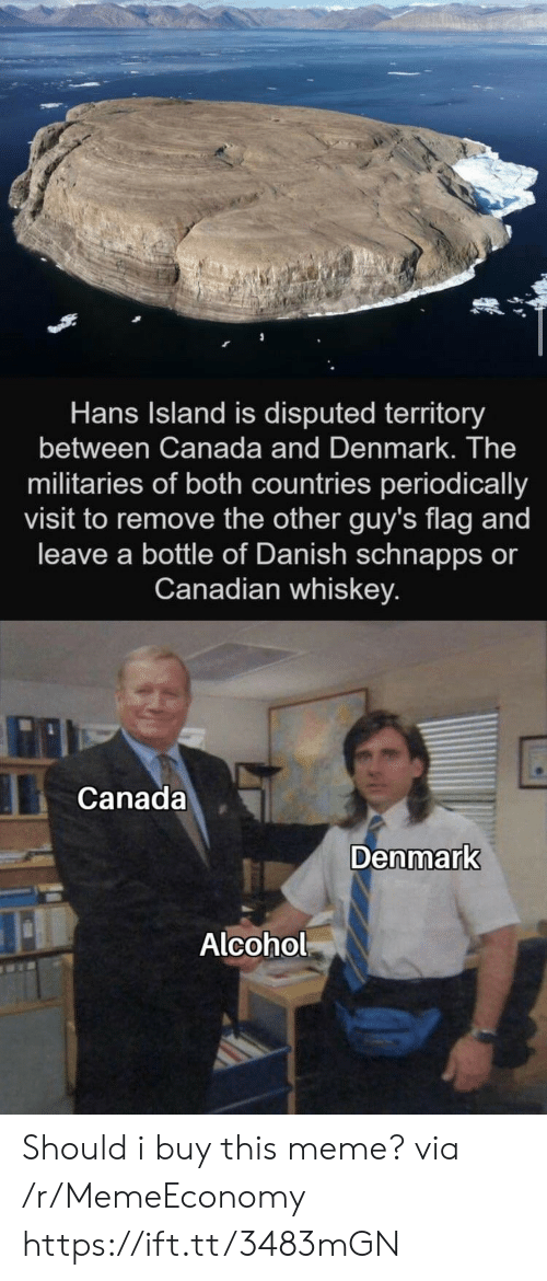 periodically: Hans Island is disputed territory  between Canada and Denmark. The  militaries of both countries periodically  visit to remove the other guy's flag and  leave a bottle of Danish schnapps or  Canadian whiskey.  Canada  Denmark  Alcohol Should i buy this meme? via /r/MemeEconomy https://ift.tt/3483mGN