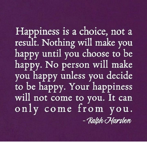 Memes, Happy, and Happiness: Happiness is a choice, not a  result. Nothing will make you  happy until you choose to be  happy. No person will make  you happy unless you decide  to be happy. Your happiness  will not come to vou. It can  only come from you  Ralph Harlon