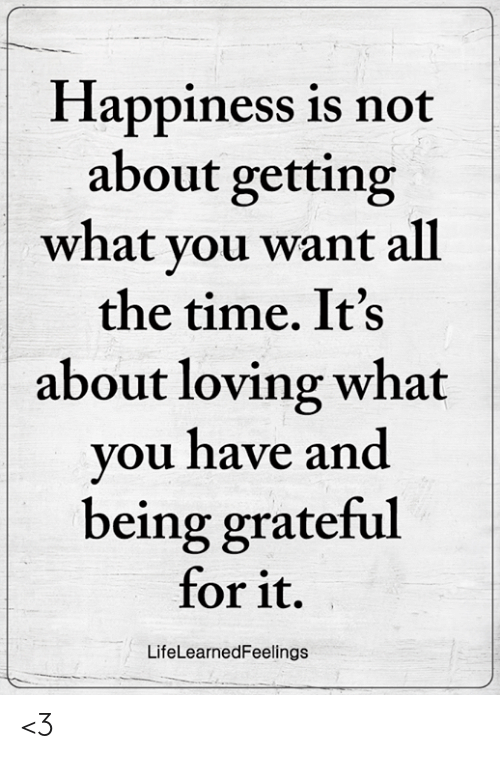 Memes, Time, and Happiness: Happiness is not  about getting  what vou want all  the time. It's  about loving what  you have an  being grateful  for it.  LifeLearnedFeelings <3