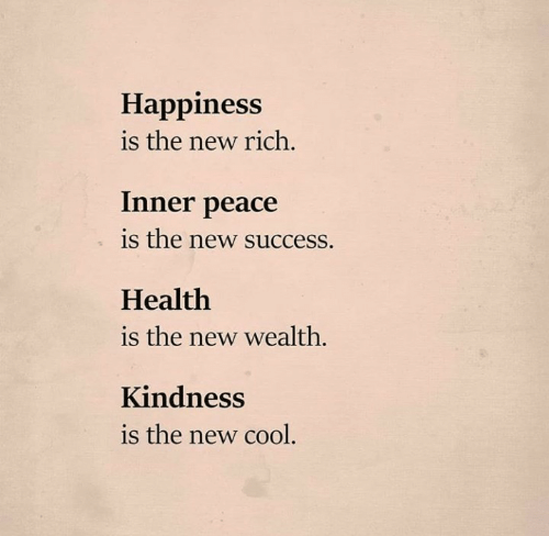 wealth: Happiness  is the new rich.  Inner peace  is the new success.  Health  is the new wealth.  Kindness  is the new cool.