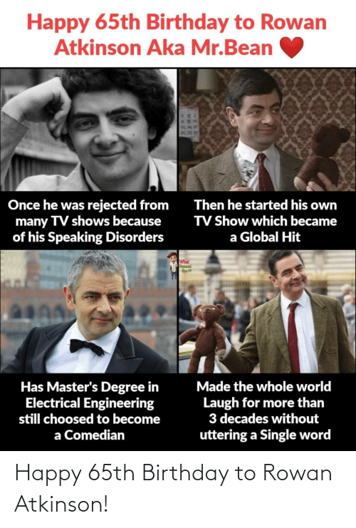 hit: Happy 65th Birthday to Rowan  Atkinson Aka Mr.Bean  Once he was rejected from  many TV shows because  of his Speaking Disorders  Then he started his own  TV Show which became  a Global Hit  What  Has Master's Degree in  Electrical Engineering  still choosed to become  Made the whole world  Laugh for more than  3 decades without  uttering a Single word  a Comedian  XXAMI Happy 65th Birthday to Rowan Atkinson!