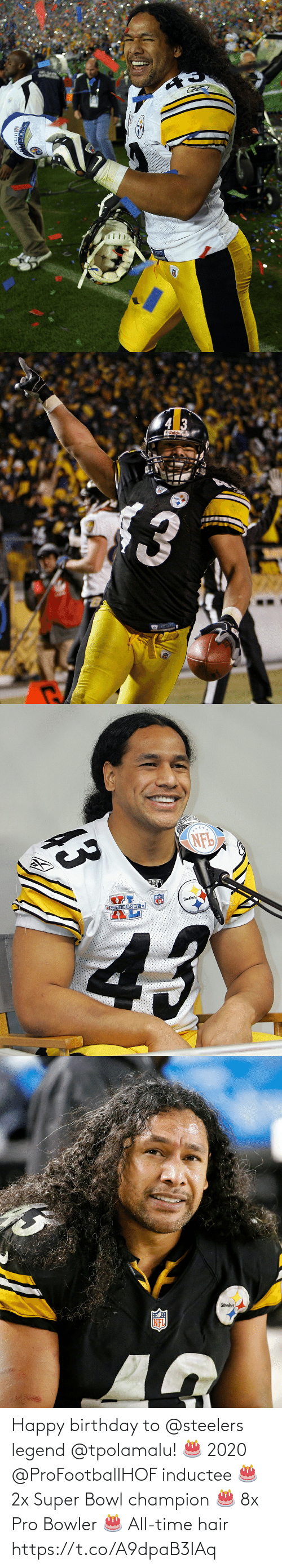 legend: Happy birthday to @steelers legend @tpolamalu! 🎂 2020 @ProFootballHOF inductee 🎂 2x Super Bowl champion 🎂 8x Pro Bowler 🎂 All-time hair https://t.co/A9dpaB3IAq