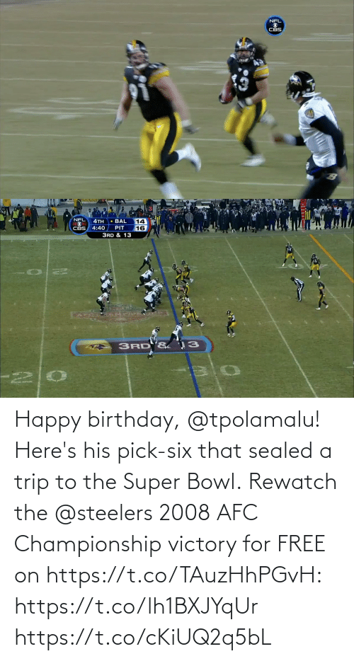 bowl: Happy birthday, @tpolamalu! Here's his pick-six that sealed a trip to the Super Bowl.  Rewatch the @steelers 2008 AFC Championship victory for FREE on https://t.co/TAuzHhPGvH: https://t.co/lh1BXJYqUr https://t.co/cKiUQ2q5bL