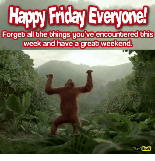 "have a great weekend: Happy Friday Everyone!  Forget all the things you've encountered this  week and have a great weekend.  Stuff  ""Share"""