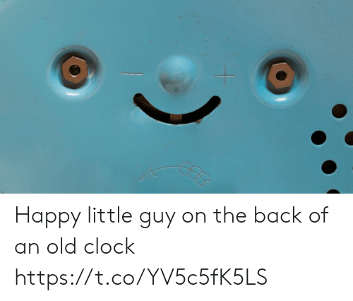 Clock, Happy, and Old: Happy little guy on the back of an old clock https://t.co/YV5c5fK5LS