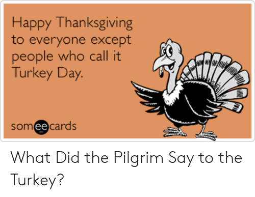 Thanksgiving, Happy, and Turkey: Happy Thanksgiving  to everyone except  people who call it  Turkey Day  somee cards  ее What Did the Pilgrim Say to the Turkey?