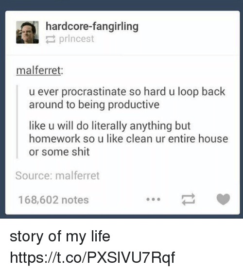 Life, Shit, and Ferret: hardcore-fangirling  prlncest  mal ferret.  u ever procrastinate so hard u loop back  around to being productive  like u will do literally anything but  homework so u like clean ur entire house  or some shit  Source: malferret  168,602 notes story of my life https://t.co/PXSlVU7Rqf