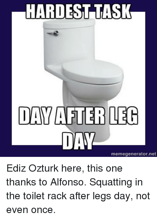 Day After Leg Day: HARDEST TASK  DAY AFTER LEG  DAY  memegenerator.net Ediz Ozturk here, this one thanks to Alfonso.  Squatting in the toilet rack after legs day, not even once.