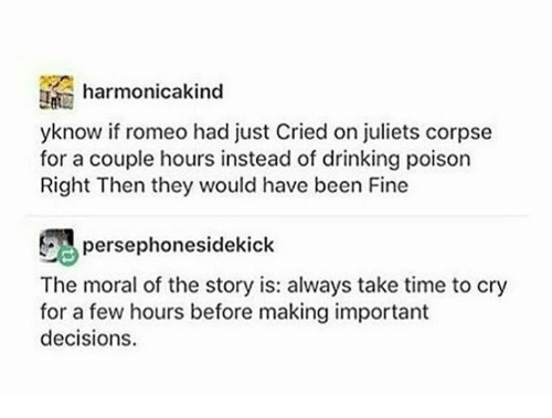 Right Then: harmonicakind  yknow if romeo had just Cried on juliets corpse  for a couple hours instead of drinking poison  Right Then they would have been Fine  persephonesidekick  The moral of the story is: always take time to cry  for a few hours before making important  decisions