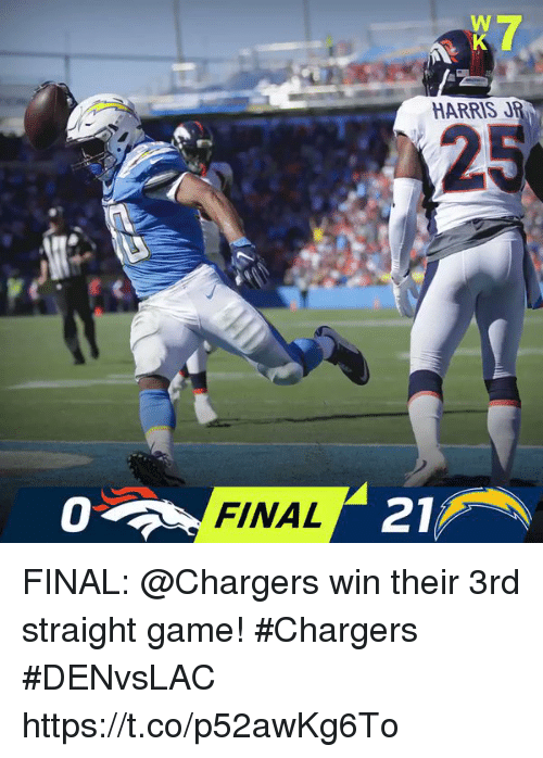 Memes, Chargers, and Game: HARRIS JR  25  0  FINAL  21 FINAL: @Chargers win their 3rd straight game! #Chargers  #DENvsLAC https://t.co/p52awKg6To
