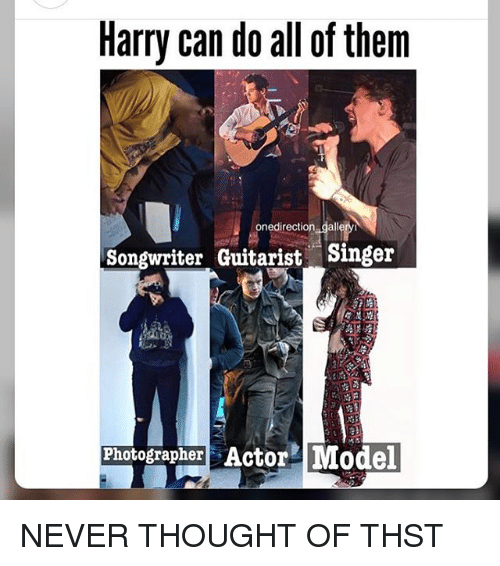 Memes, Never, and Thought: Harry can do all of them  onedirection galleryi  Songwriter Guitarist Singer  Photographer Actor Model  rt NEVER THOUGHT OF THST