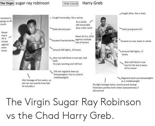 Bad, Boxing, and Virgin: Harry Greb  The Virgin Sugar ray robinson  THE CHAD  Fought dirty, like a chad.  Fought honorably, like a wimp  Involved in  gangs as  As a youth,  youth  did honorable  blue-collar work  Died old and poor  Died young and rich  Never  had a  Went 45-0 in 1919  45-0  'Ducked Charley Burley against multiple  hall of famers  Ducked no one, black or white  streak  against  even  'Around 200 fights, 19 losses  bums  Around 300 fights, 17  losses  Was not half blind in one eye, had  both  Was half blind in one  his eyes working and still lost  eye for the last 6 years  of his career  Did not regularly beat up  heavyweights; lost to several  middleweights  Regularly beat up heavyweights  as a middleweight  Film footage of him exists, so  exactly how bad  we can see  No fight footage exists; would wreck boxing  historians panties from sheer awesomeness if  he actually is  discovered The Virgin Sugar Ray Robinson vs the Chad Harry Greb.