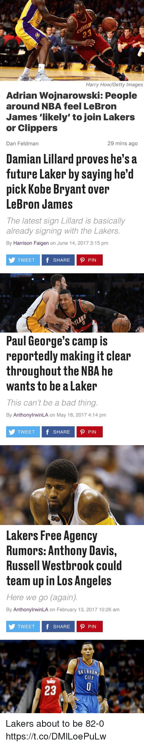"""Bad, Blackpeopletwitter, and Future: Harry How/Getty Images  Adrian Wojnarowski: People  around NBA feel LeBron  James """"likely"""" to join Lakers  or Clippers  29 mins ago  Dan Feldman   Damian Lillard proves he's a  future Laker by saying he'd  pick Kobe Bryant over  LeBron James  The latest sign Lillard is basically  already signing with the Lakers  By Harrison Faigen on June 14, 2017 3:15 pm  TWEET  f SHARE D PIN   Paul George's camp is  reportedly making it clear  throughout the NBA he  wants to be a Laker  This can't be a bad thing  By AnthonylrwinLA on May 18, 2017 4:14 pm  TWEET  f SHARE D PIN   Lakers Free Agency  Rumors: Anthony Davis,  Russell Westbrook could  team up in Los Angeles  Here we go again)  By AnthonylrwinLA on February 13, 2017 10:26 am  TWEET  f SHARE D PIN  OKLAHOMA  CITY  23 Lakers about to be 82-0 https://t.co/DMlLoePuLw"""