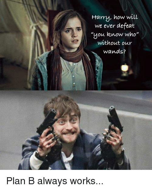 "Funny, Plan B, and How: Harry, how will  we ever defeat  ""you know who  without our  wands? Plan B always works..."