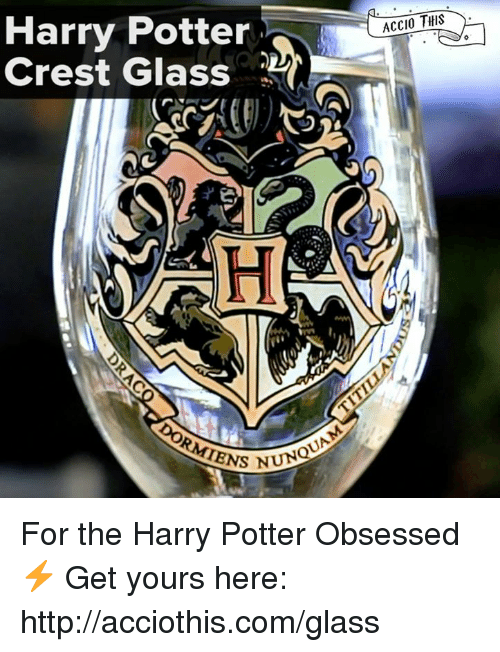 Harry Potter, Http, and Potter: Harry Potter  Crest GlasS  ACCIO THIS For the Harry Potter Obsessed⚡️  Get yours here: http://acciothis.com/glass