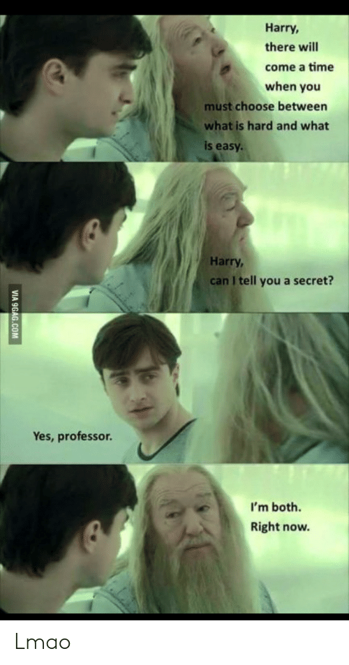 9gag: Harry,  there will  come a time  when you  must choose between  what is hard and what  is easy  Harry,  can I tell you a secret?  Yes, professor.  I'm both.  Right now.  VIA 9GAG.COM Lmao