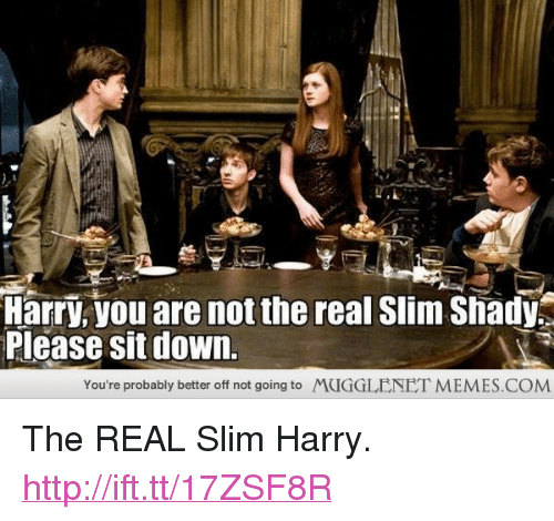 "The Real Slim Shady: Harry, you are not the real Slim Shady  Please sit down.  You're probably better off not going to  MUGGLENET MEMES.COM <p>The REAL Slim Harry. <a href=""http://ift.tt/17ZSF8R"">http://ift.tt/17ZSF8R</a></p>"