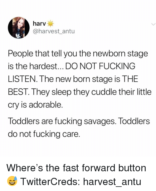 Fucking, Funny, and Best: harv  @harvest antu  People that tell you the newborn stage  is the hardest... DO NOT FUCKING  LISTEN. The new born stage is THE  BEST. They sleep they cuddle their little  cry is adorable.  Toddlers are fucking savages. Toddlers  do not fucking care. Where's the fast forward button😅 TwitterCreds: harvest_antu