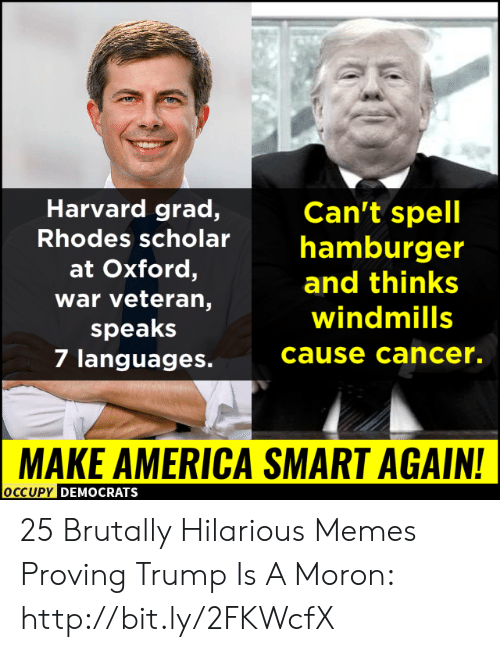 Occupy Democrats: Harvard grad,  Can't spell  Rhodes scholarhamburger  at Oxford,  war veteran,  speaks  7 languages.  and thinks  windmills  cause cancer.  MAKE AMERICA SMART AGAIN!  OCCUPy DEMOCRATS 25 Brutally Hilarious Memes Proving Trump Is A Moron: http://bit.ly/2FKWcfX