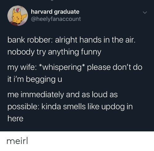 In Here: harvard graduate  @heelyfanaccount  bank robber: alright hands in the air.  nobody try anything funny  my wife: *whispering* please don't do  it i'm begging u  me immediately and as loud as  possible: kinda smells like updog in  here meirl