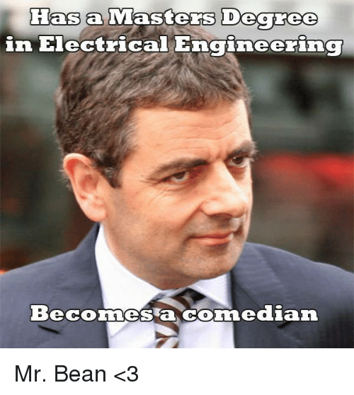 Memes, Mr. Bean, and Masters: Has a  Masters Degree  in Electric  Engineering  Beconnes a dian Mr. Bean <3