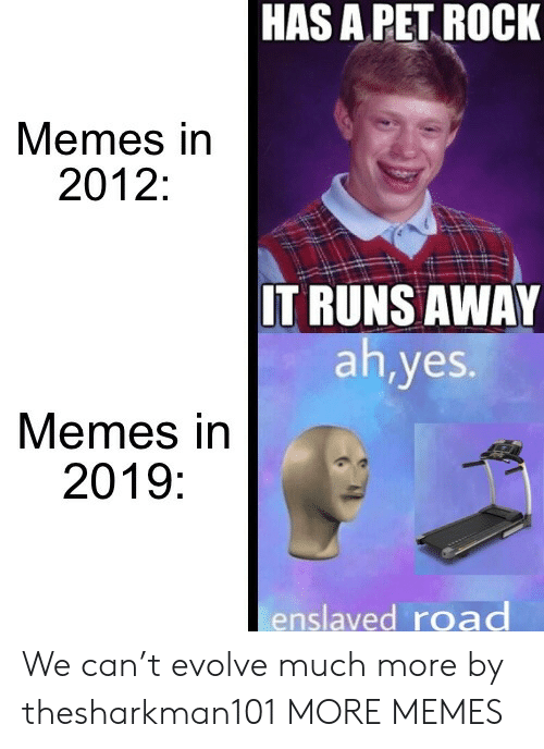 Evolve: HAS A PET ROCK  Memes in  2012:  IT RUNS AWAY  ah,yes.  Memes in  2019:  enslaved road We can't evolve much more by thesharkman101 MORE MEMES