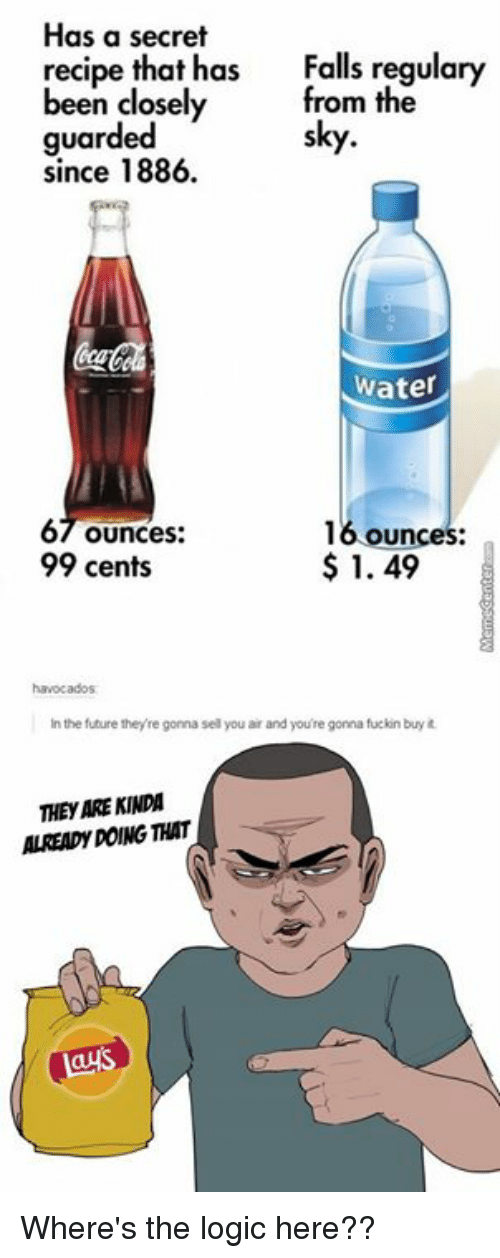 Logicalness: Has a secret  recipe that has  Falls been closely  from the  guarded  since 1886.  Water  67 ounces  16 ounces:  1.49  99 cents  in the future they re gonna sel you ar  and you're gonna fuckin buy  THeyARE KINDA  ALREADY DOING THAT  gays Where's the logic here??