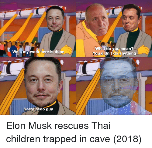 Children, Sorry, and Work: hat do you mean?  You didn't do anything  1L  Well, my work here is done  Sorry pedo guy Elon Musk rescues Thai children trapped in cave (2018)