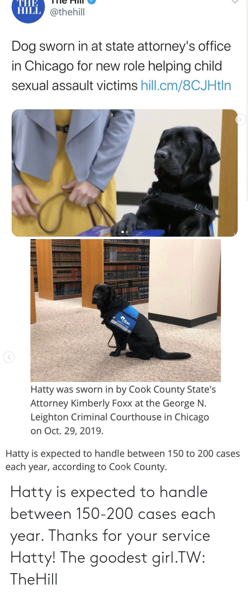 expected: Hatty is expected to handle between 150-200 cases each year. Thanks for your service Hatty! The goodest girl.TW: TheHill