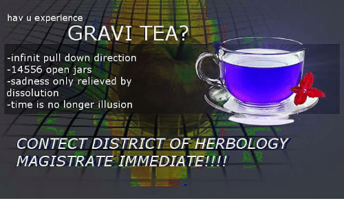 Time, Experience, and Tea: hav u experience  GRAVI TEA?  -infinit pull down direction  14556 open jars  -sadness only relieved by  dissolution  -time is no longer illusion  CONTECT DISTRICT OF HERBOLOGY  MAGISTRATE IMMEDIATEII!!