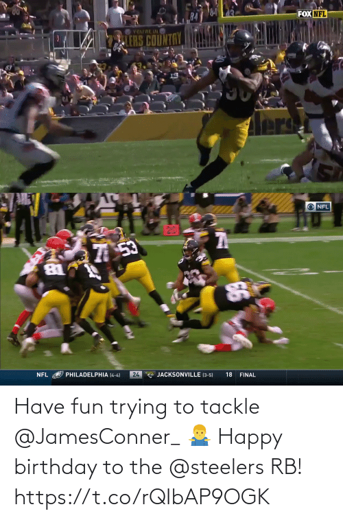 Trying: Have fun trying to tackle @JamesConner_ 🤷‍♂️  Happy birthday to the @steelers RB! https://t.co/rQIbAP9OGK