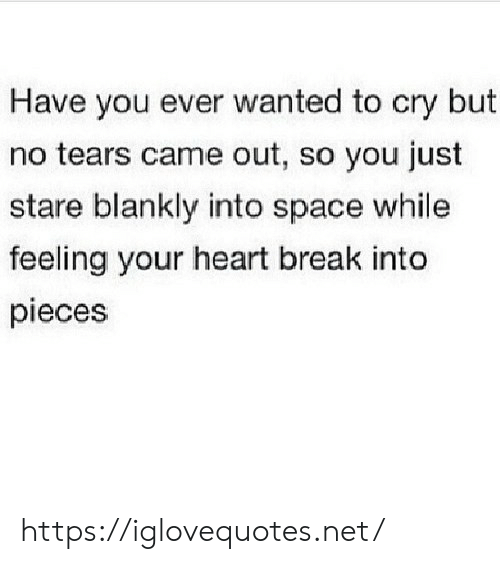 Pieces: Have you ever wanted to cry but  no tears came out, so you just  stare blankly into space while  feeling your heart break into  pieces https://iglovequotes.net/