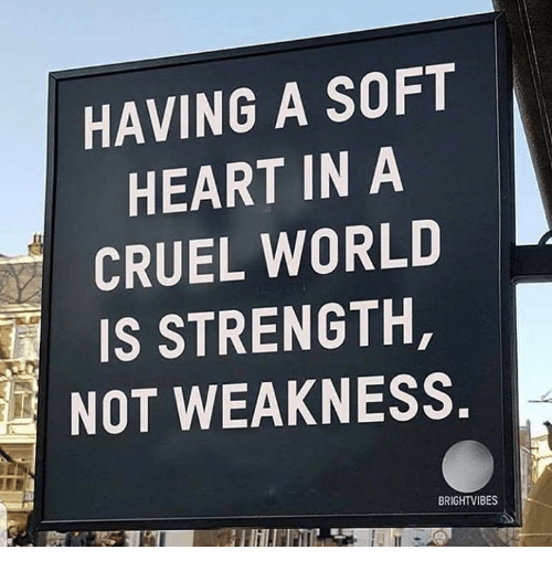 Heart, World, and Strength: HAVING A SOFT  HEART IN A  CRUEL WORLD  IS STRENGTH,  NOT WEAKNESS  BRIGHTVIBES